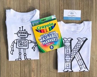CUSTOM kids coloring t shirt- Color your own shirt! Personalized coloring shirt for kids! Valentine