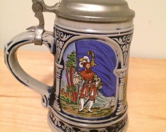 German Gerz Beer Stein with Pewter lid depicting explorers marked