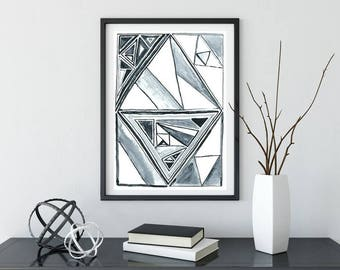 Watercolor Painting, Geometric Wall Art, Modern Painting, Original Watecolor Painting, Abstract Painting, Wall Decor