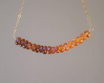 Warm brown zircon and orange hessonite bar necklace on solid 14k gold chain
