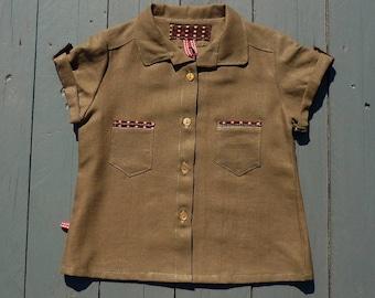 Shirt type Hawaii khaki size 2-3 years