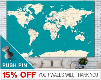 World Map, World Map Push Pin, Word Map Canvas, Push Pin World Map, World Map Wall Art, World Map Print,  PushPin World Map, Map Canvas