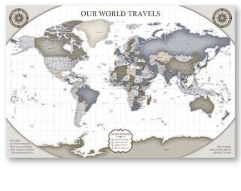 Canvas Map Wall Art Pin Board Map of the World Pinboard Map of the World Travel Map Personalized Anniversary Gift for Husband World Map