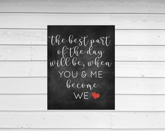 WEDDING DAY CHALKBOARD | printable wall art | digital file | the best day quote