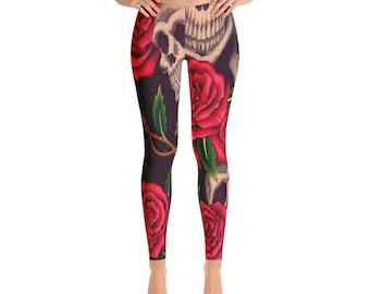 Sugar Skull - Leggings - yoga leggings -printed leggings - skull printed leggings - colorful leggings - womens leggings - workout leggings -