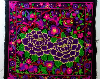 Purple Flowers  Embroidered Hmong Fabric, Hmong Hill Tribe Embroidered, Thai Hill Tribe, Hmong Textile, Hill Tribe Handmade.