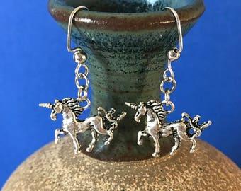 Silver Unicorn Dangle Earrings