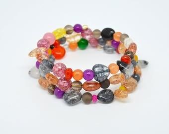 Multi coloured, multi quartz gemstone, multi layer memory wire boho style bracelet bangle.