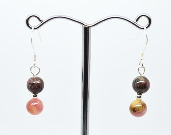 Multi Coloured Brown & Pink Round Tourmaline Double Beaded Sterling Silver 925 Hook Drop Earrings