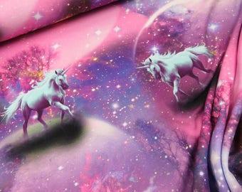 Unicorns - JERSEY knit fabric, digital printed cotton lycra