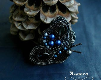 Butterfly embroidered brooch with swarovski crystal