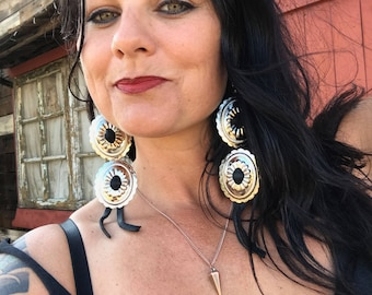 Leather Double Concho Earrings