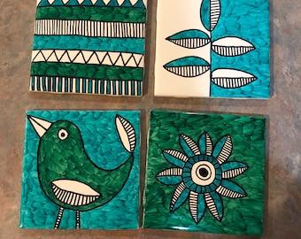 Hand painted folk art coasters