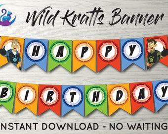 Wild Kratts Banner, Wild Kratts Bunting Banner, Wild Kratts Party Decoration, Wild Kratts Birthday Party Banner, Wild Kratts Happy Birthday