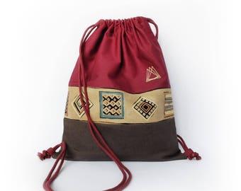 Naqada III drawstring knapsack