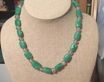 Green and clear unique necklace