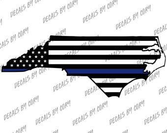 North Carolina State US Flag Thin Blue Line Outline Car Decal Charlotte Raleigh Greensboro DurhamCop LEO Sheriff Highway Patrol Police
