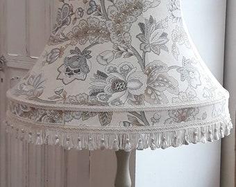 Large floral paisley print ivory grey beige tassel vintage standard lampshade