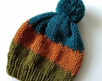 Wool hat with pompom. Cozy handmade beanie.