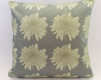 Modern Floral Cushion Cover Digitally Printed in Leucanthemum Blue Pattern Made from 100% Cotton