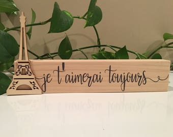Eiffel Tower Wood Sign