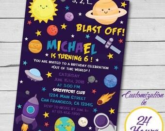 Astronaut Birthday Invitation, Space Birthday Invitation, Outer Space Party Invitation, Any age, Printable Invitation.