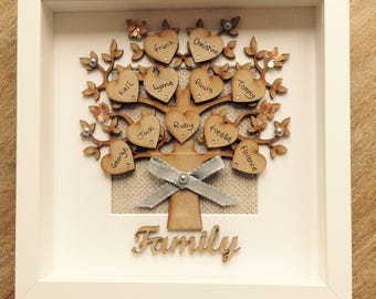 Family tree personalised box frame