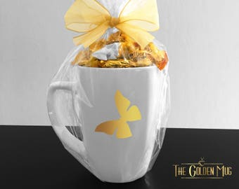 Butterfly Mug Gift Set Mariposa Real Gold Foil Mug - Butterfly Gift Set Candy Mug Gold Butterfly Mug Gold Mariposa Candy Mug Butterfly Gift