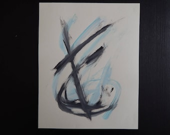 Original Acrylic Painting Abstract Anchor Cross 10 x 8 on Drawing Paper