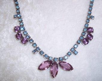 Glamorous Vintage 50's Rhinestone Choker- Purple Amethyst & Blue Topaz Colored Faceted Stones, Vintage Necklace, Vintage Rhinestone Jewelry
