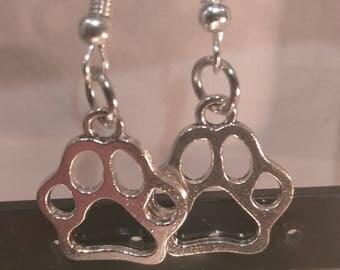 Dog Paw Earrings Silver