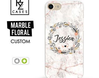 Marble iPhone 7 Case, Rose Marble Phone Case, Personalized Gift for Her, Floral Marble Case, iPhone 7 Plus, Floral, iPhone 6S, Custom Case