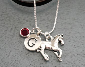 Horse, Personalized Horse Necklace, Horse Necklace, Horse Jewelry Gifts, Initial Birthstone, Silver Horse Necklace, Horse Lover Gift, Custom