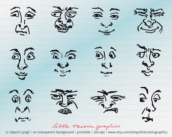 12 Cliparts facial expressions . mime . faces . download . printable . png . handdrawn . commercial use