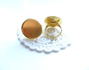 1 silvery gold cabochon ring 20mm