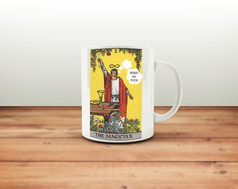 Woke As F*ck Snarky Tarot Mug, Rider Waite Smith Cup Humor, Funny Christmas Gift