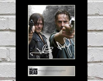 Norman Reedus and Andrew Lincoln - Daryl Dixon and Rick Grimes 10x8 Mounted Signed Photo Print The Walking Dead