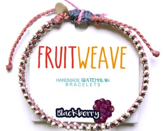BLACKBERRY CHIC BRACELET, Guatemalan Bracelets, Handmade bracelets, colorful bracelets, fruit based, fruit weave, friendship bracelets.