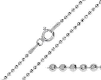 925 Sterling Silver Ball Bead 1.5mm Chain Necklace 14 16 18 20 22 24 26 28 30 inches