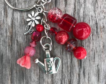 Keychains for Women, Gardening Keychain, Garden Keychain, Purse Charm for Handbags, Beaded Keychain, Beaded Bag Charm, Gardener Gift, Gift