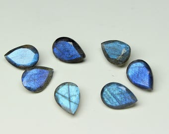 AAA Natural Labradorite Faceted Pear cut size- 9x13 MM Approx, 7 PCs Lot Flashy Fire Labradorite Pear loose semi- precious gemstones