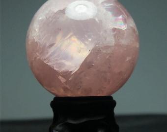 Beautiful HUGE 65mm Rose Quartz Crystal Sphere for Magic, Reiki, Draw Love