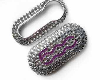 Fiat 500 key cover purple and silver logo clear rhinestones pop lounge case fob crystal girly car accessories keyring keychain diamante