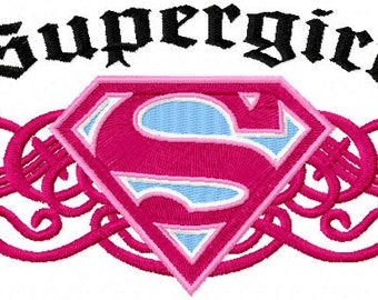 Supergirl vintage logo machine embroidery design