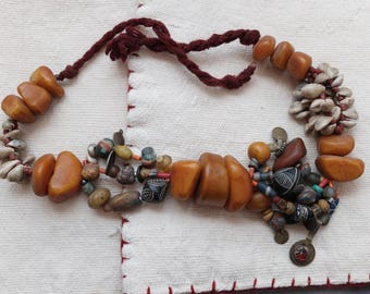 Vintage Moroccan Berber Faux amber Necklace resine,glass,wood,coin silver../Contemporay design