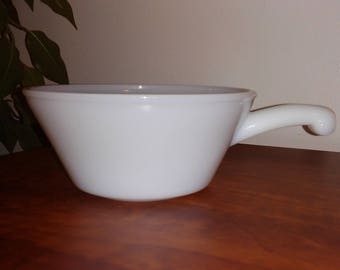 1960's Vintage Anchor Hocking Fire King Milk Glass Bowl with Handle