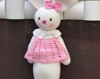 Pink Rabbit Crochet Amigurumi  Handmade Doll