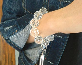 Keychain Bracelet, Bracelet Keychain, Beaded Keychain, Key Wristlet, Handsfree Keychain, Bracelet for Keys,  Fashion Keychain, Pink keychain