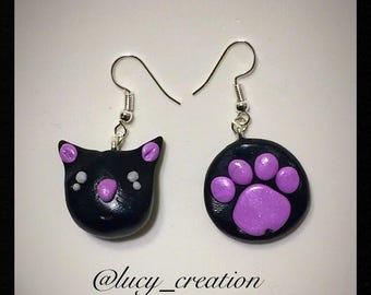 Polymer clay cat earrings