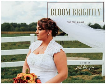 BLOOM BRIGHTLY- Lightroom Preset, Photography Bright Preset, Direct Light Colorful Wedding